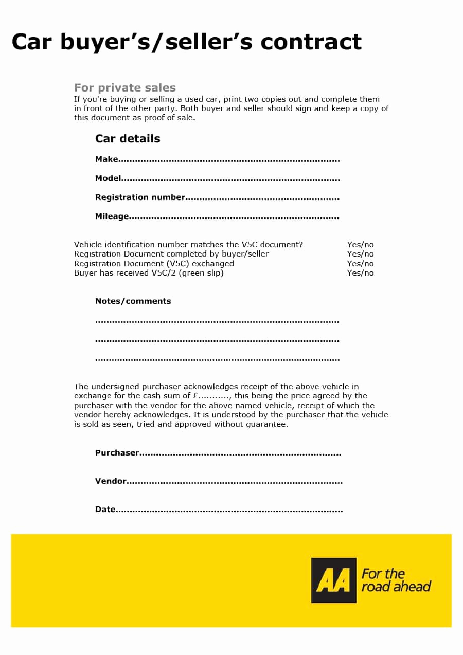 Contract for Selling A Car Fresh 42 Printable Vehicle Purchase Agreement Templates
