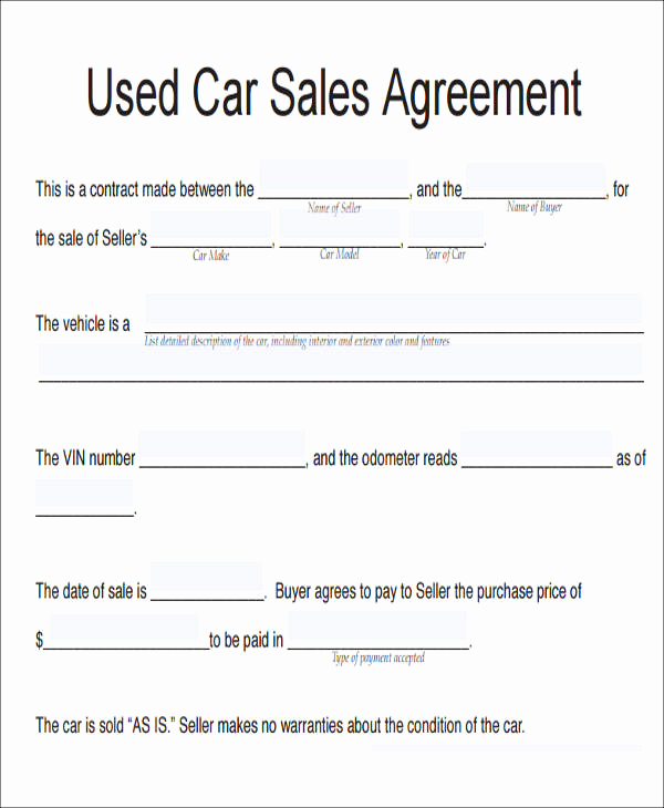 Contract for Selling A Car Luxury 11 Vehicle Sales Agreement Samples Free Word Pdf