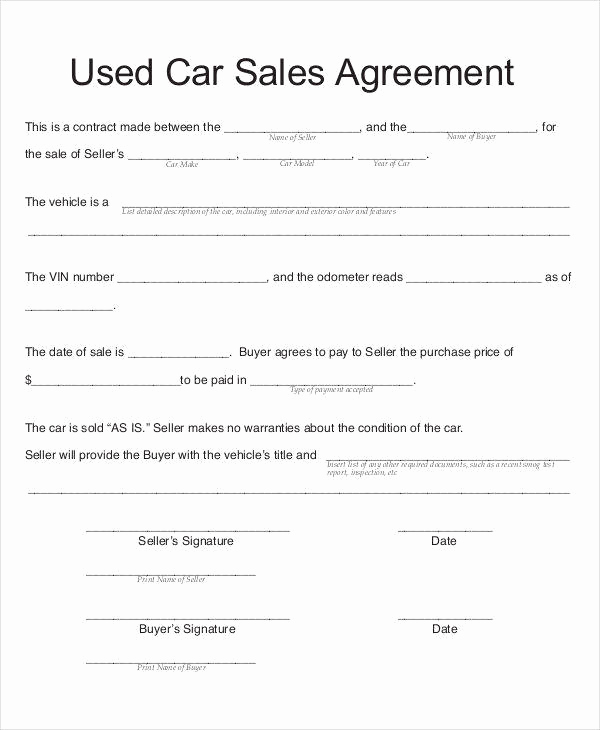 Contract for Selling A Car Unique 7 Car Sales Contract Samples & Templates In Pdf