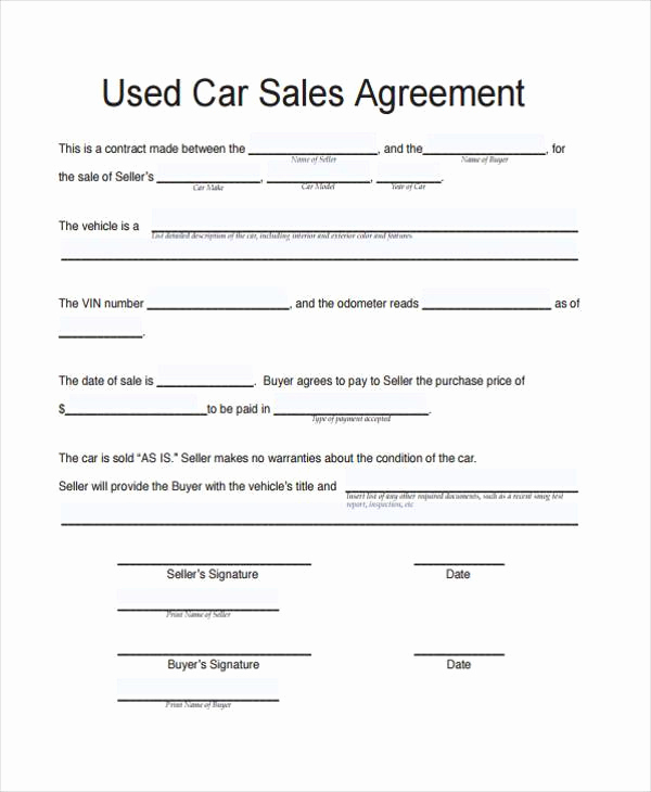 Contract for Selling A Car Unique Contract forms In Pdf