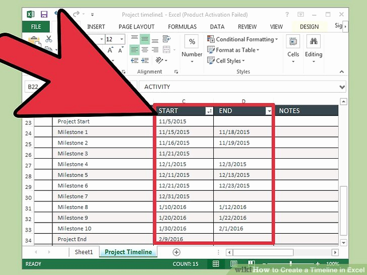 Create A Timeline In Word Awesome 3 Ways to Create A Timeline In Excel Wikihow