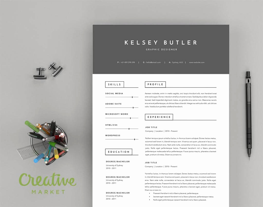 Creative Cover Letter Template Best Of Two Page Minimal Resume Template and A Cover Letter