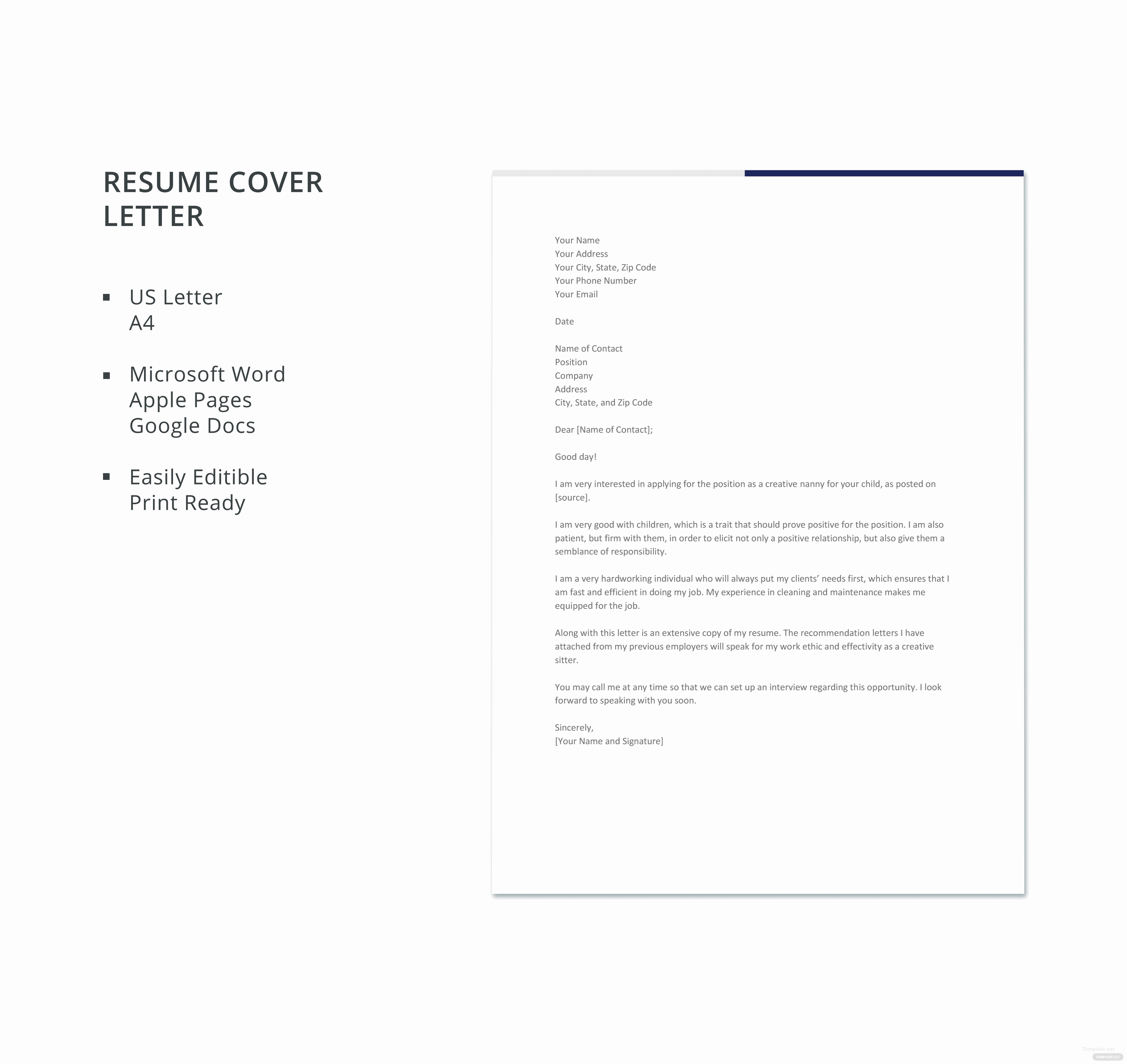 Creative Cover Letter Template Luxury Free Creative Nanny Resume Cover Letter Template In