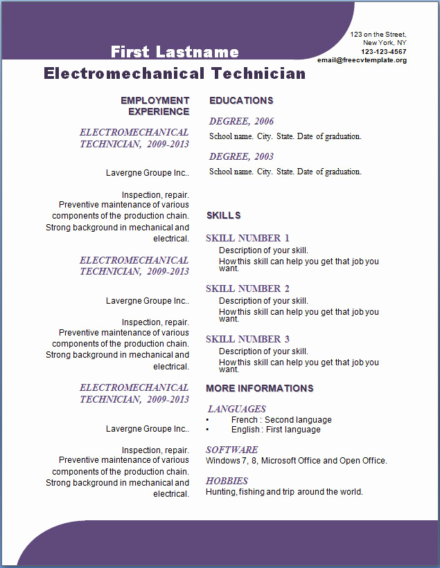 Curriculum Vitae Template Word Best Of Free Cv Template 107 to 113 Cv Template