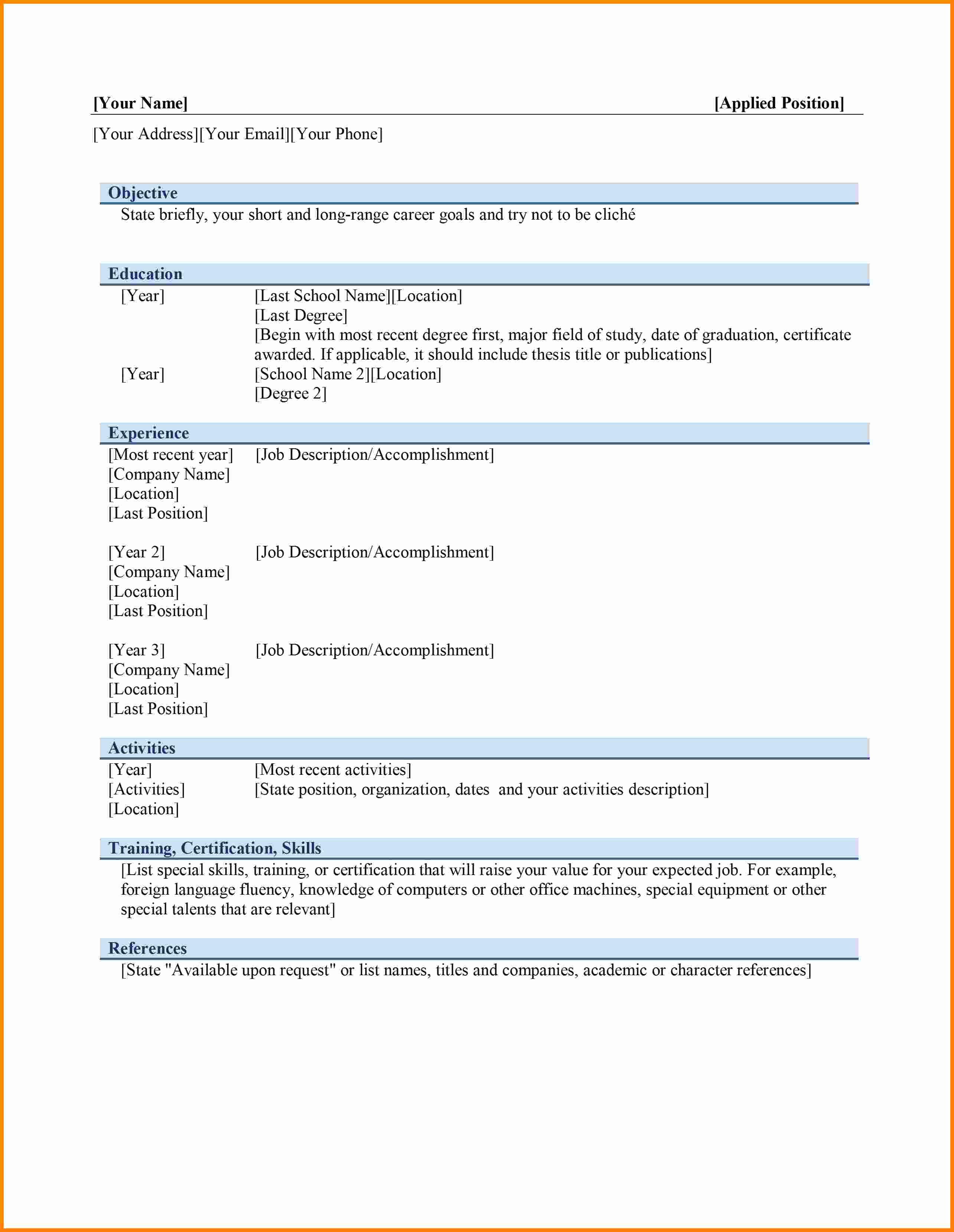 Curriculum Vitae Template Word Elegant 6 Curriculum Vitae In Ms Word