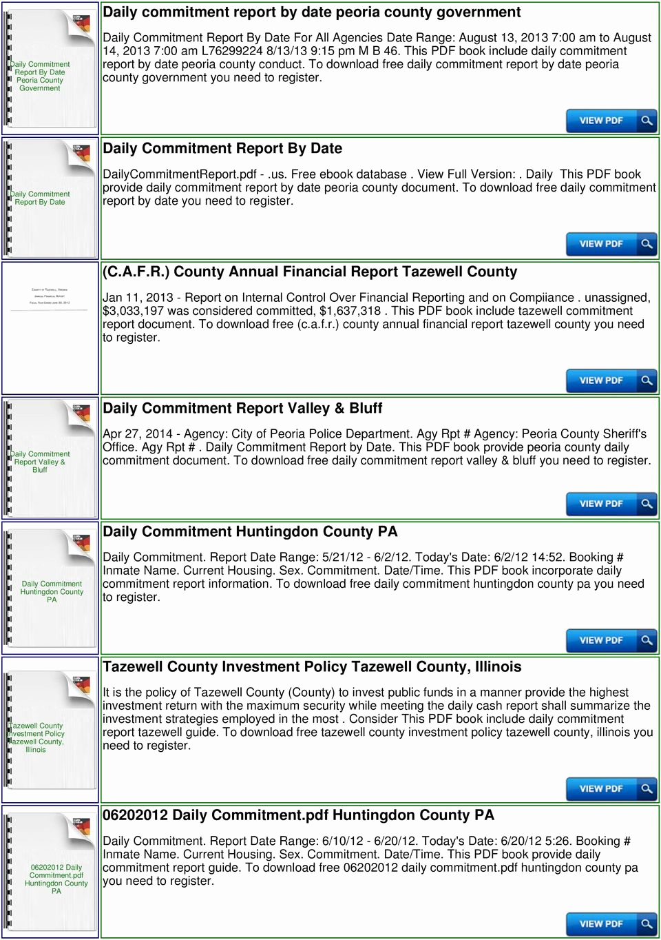 Daily Commitment Peoria Il Lovely Tazewell County Jail Daily Mitment Report Pdf