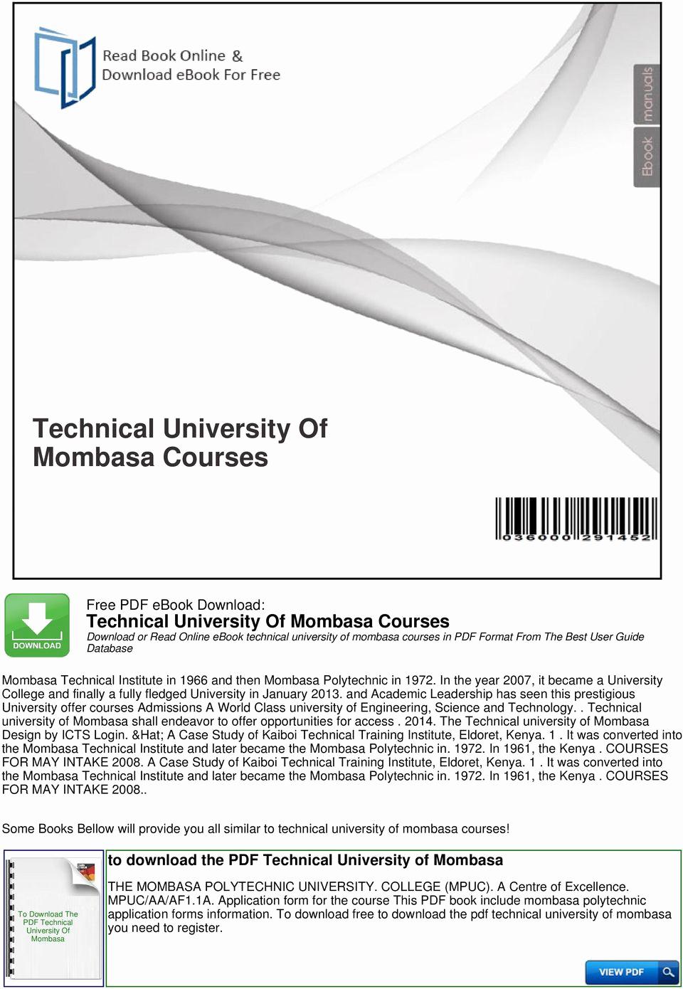 Daily Commitment Peoria Il Unique Technical University Mombasa Courses Pdf