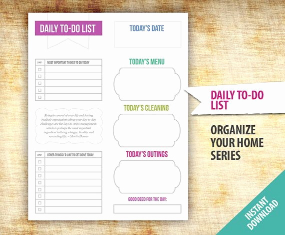 Daily to Do List Template New Daily to Do List Planner Template Printable organize