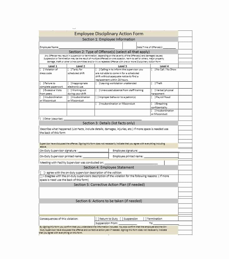 Employee Disciplinary Action form Best Of 40 Employee Disciplinary Action forms Template Lab