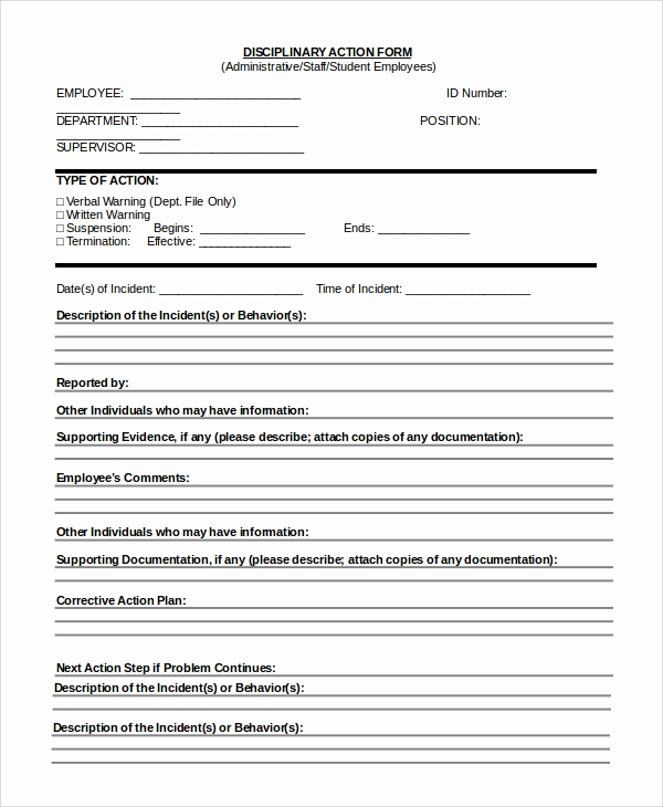 Employee Disciplinary Action form Best Of Sample Employee Discipline form 10 Examples In Pdf Word