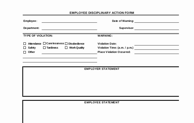 Employee Disciplinary Action form Fresh Best Employee Write Up forms Word Templates