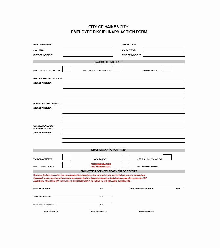 Employee Disciplinary Action form Inspirational 40 Employee Disciplinary Action forms Template Lab