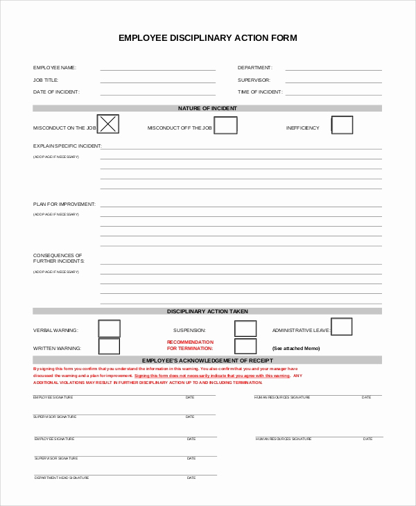 Employee Disciplinary Action form Inspirational Sample Employee Discipline form 10 Examples In Pdf Word