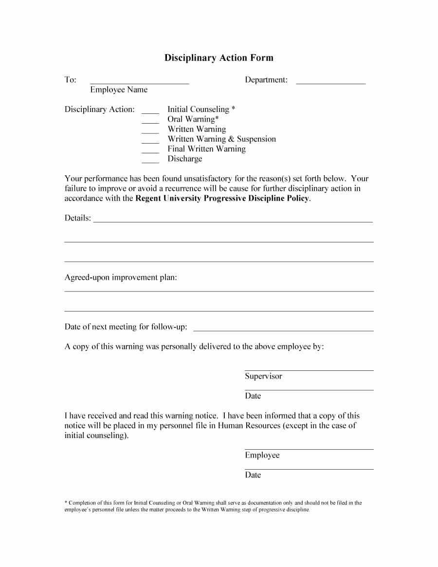 Employee Disciplinary Action form Luxury 46 Effective Employee Write Up forms [ Disciplinary