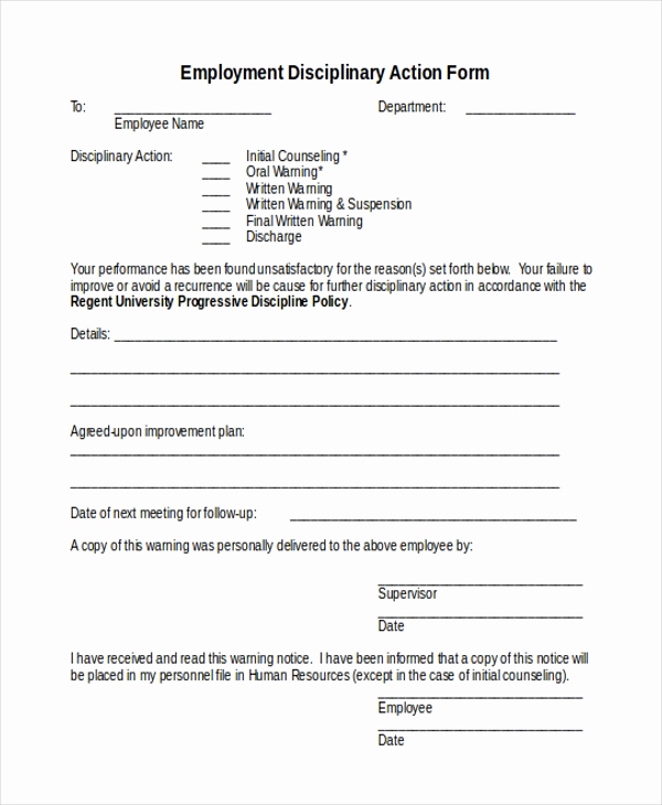 Employee Disciplinary Action form New Sample Action form 15 Free Documents In Doc Pdf