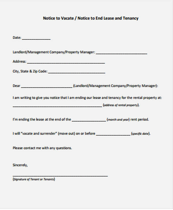 End Of Lease Letter Lovely Lease Letter Templates 8 Free Sample Example format