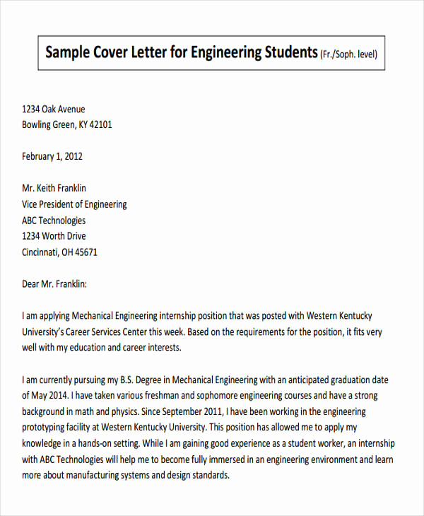 Engineering Internship Cover Letter Awesome 47 Engineering Resume