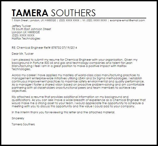 Engineering Internship Cover Letter Beautiful Chemical Engineer Cover Letter Sample