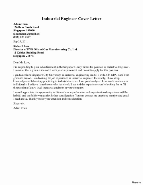 Engineering Internship Cover Letter New Cover Letter for Industrial Engineering Internship