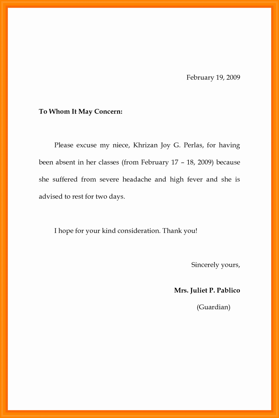 Excuse Note for School Elegant School Absence Excuse Letter Sample as Well Note with