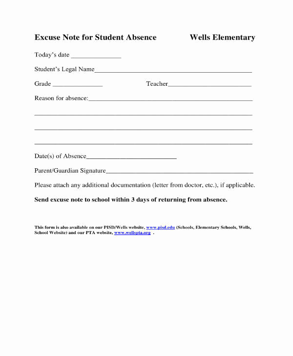 Excuse Note for School Inspirational 11 School Excuse Note Templates Pdf