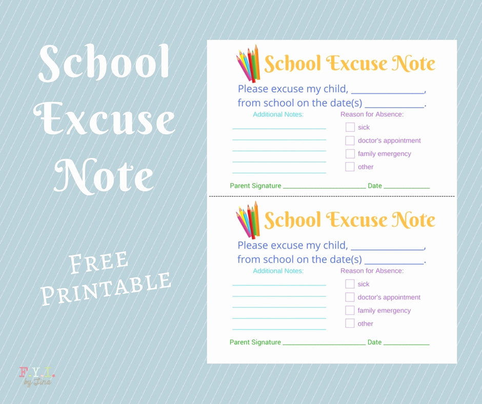Excuse Note for School Luxury School Excuse Note Free Printable • Fyi by Tina