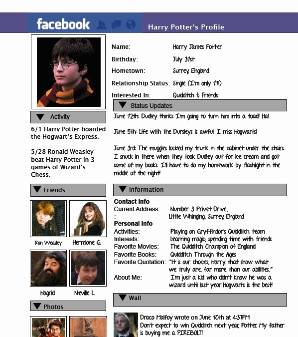Facebook Template for Students Fresh Character Profiles