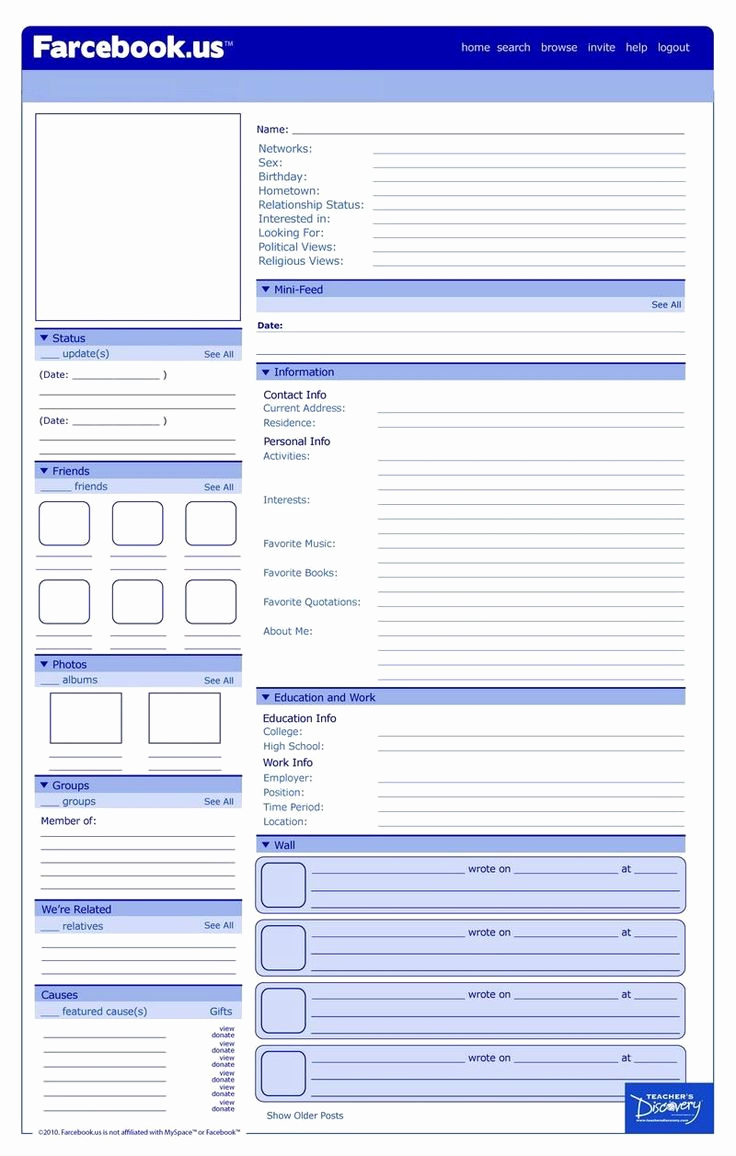 Facebook Template for Students New Best 25 Profile Template Ideas On Pinterest