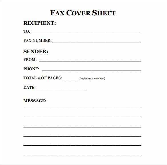 sample printable fax cover sheet
