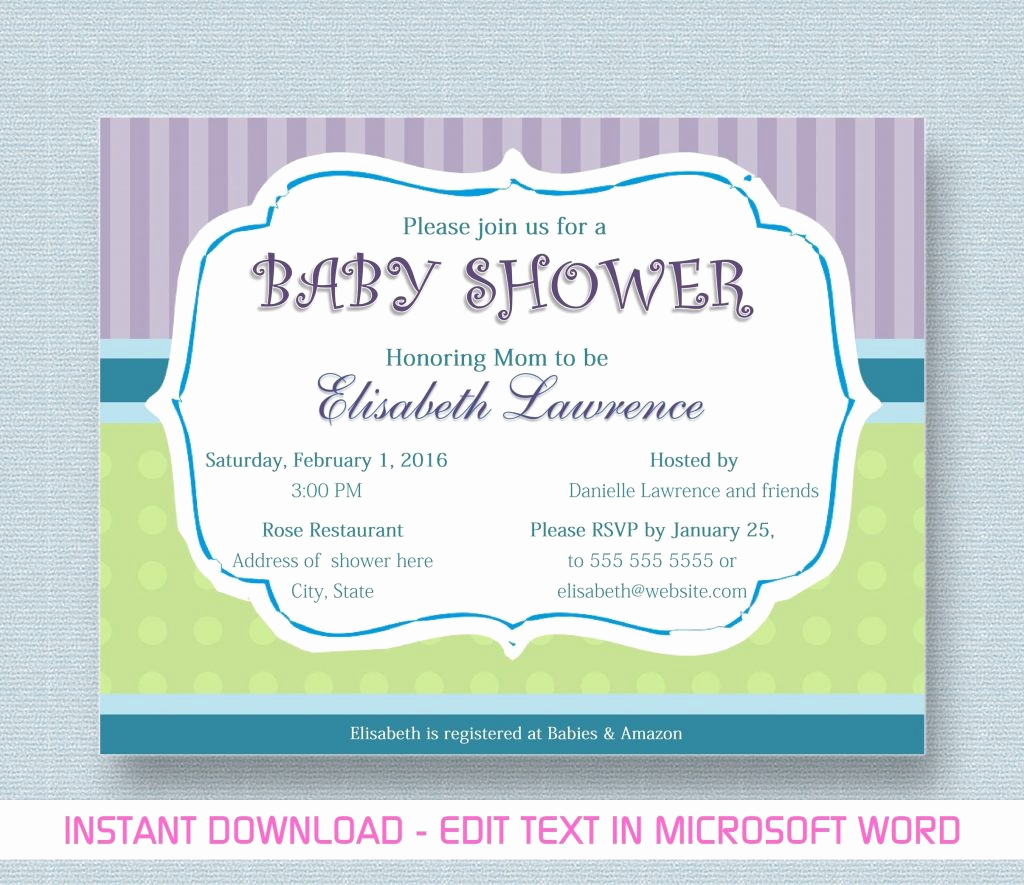 Free Baby Shower Invitation Templates Best Of Free Baby Shower Invitation Templates for Word Twin