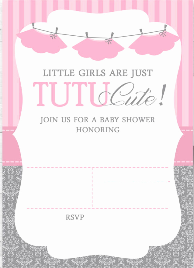 Free Baby Shower Invitation Templates New Cute Ballerina Baby Shower Invitations Free