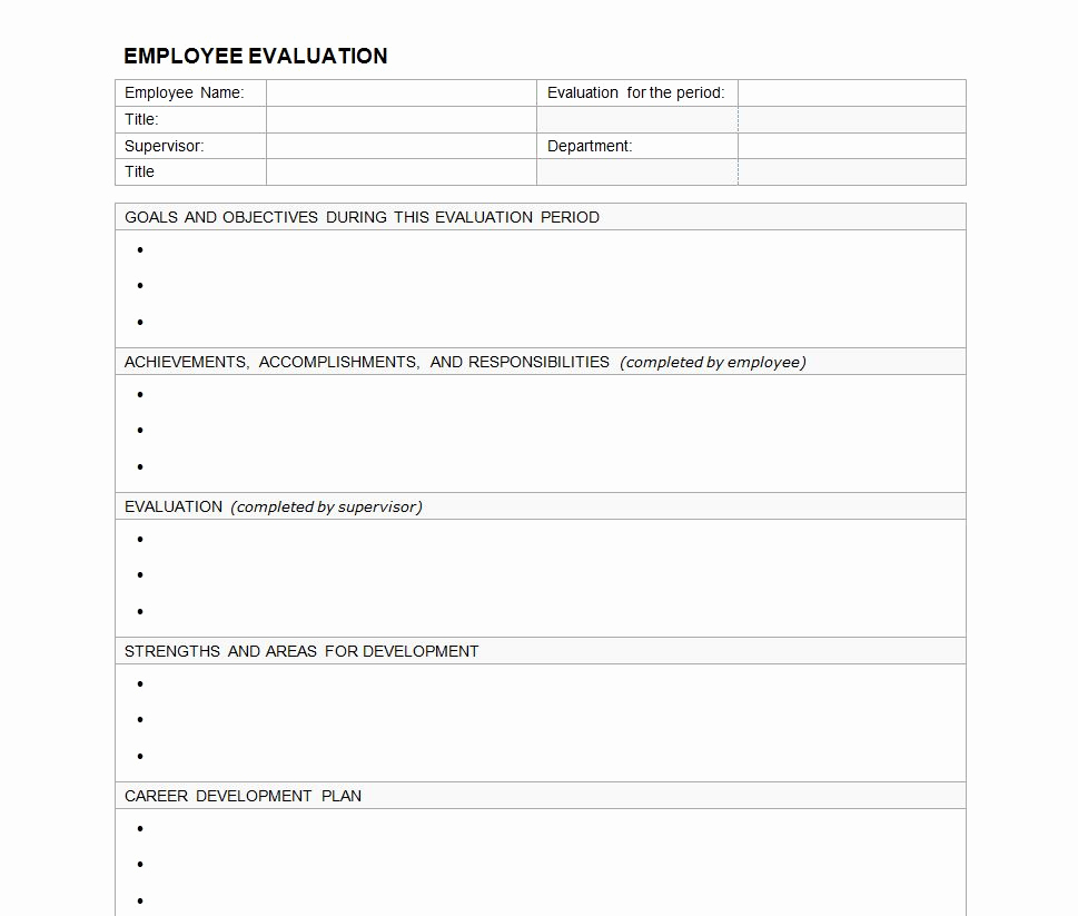 Free Employee Evaluation forms Printable Fresh Employee Evaluation form