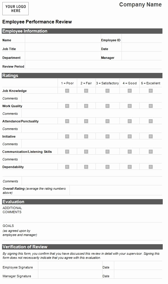 Free Employee Evaluation forms Printable Lovely Employee Evaluation Template