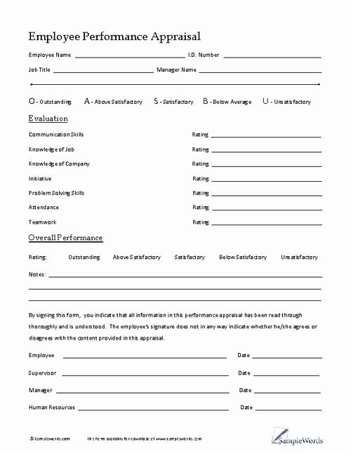 Free Employee Evaluation forms Printable Luxury Employee Performance Appraisal