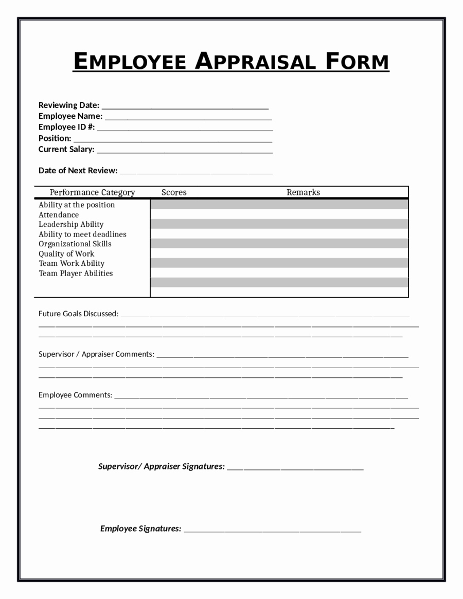 30 free employee evaluation forms printable