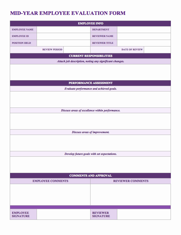 Free Employee Evaluation forms Printable Unique Free Employee Performance Review Templates Smartsheet