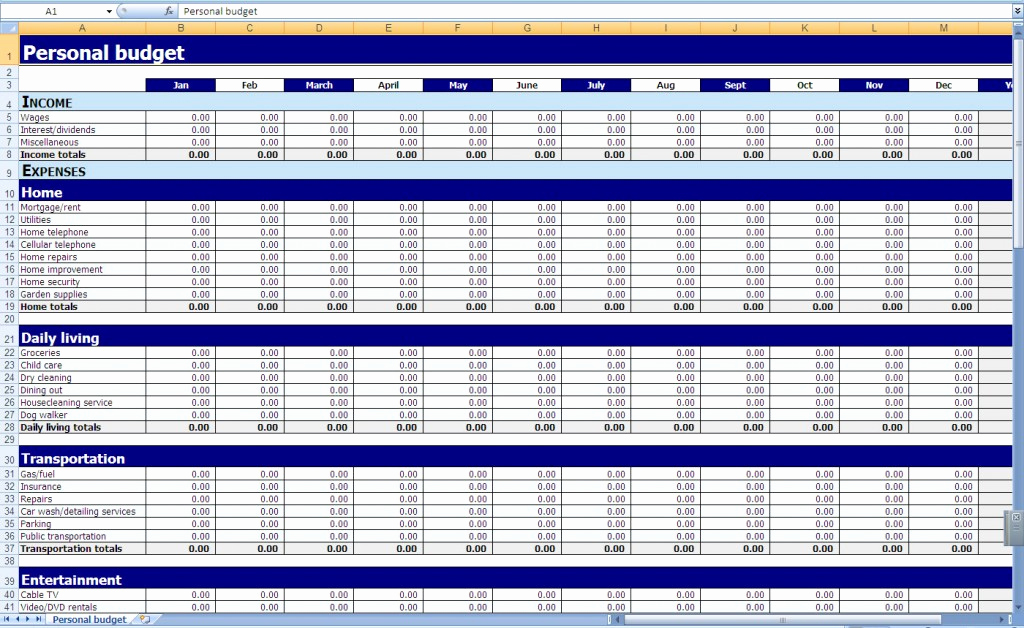 Free Excel Budget Template Unique Monthly and Yearly Bud Spreadsheet Excel Template