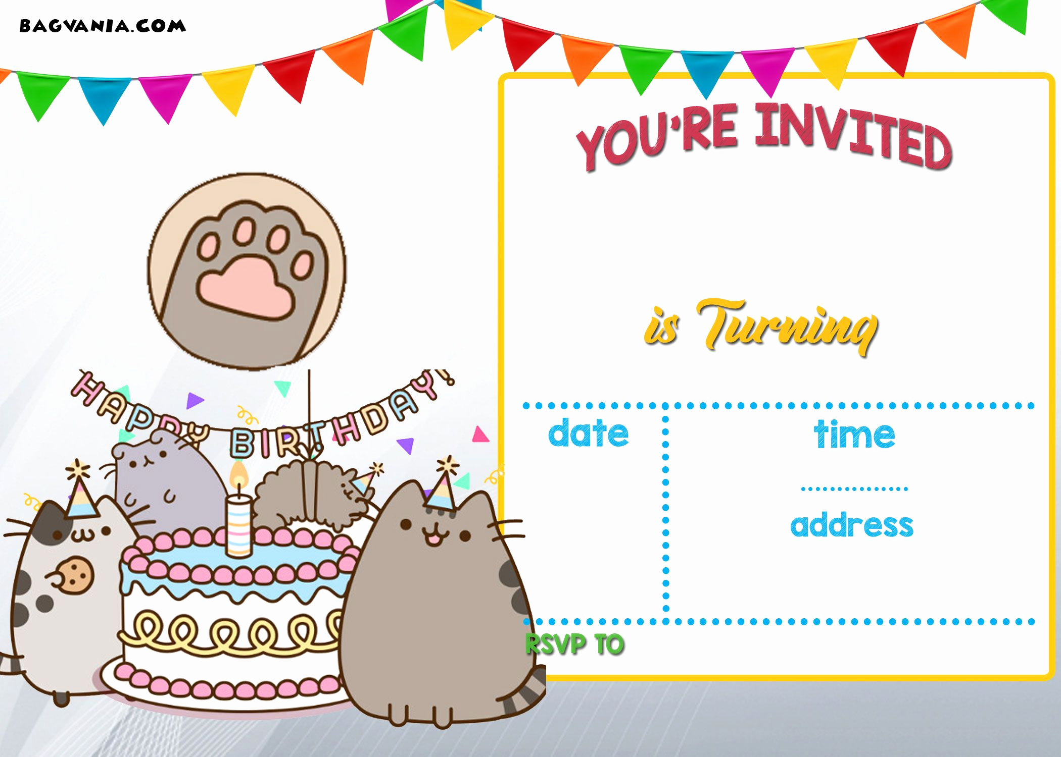 Free Printable Invitations Templates Best Of Free Printable Pusheen Birthday Invitation Template