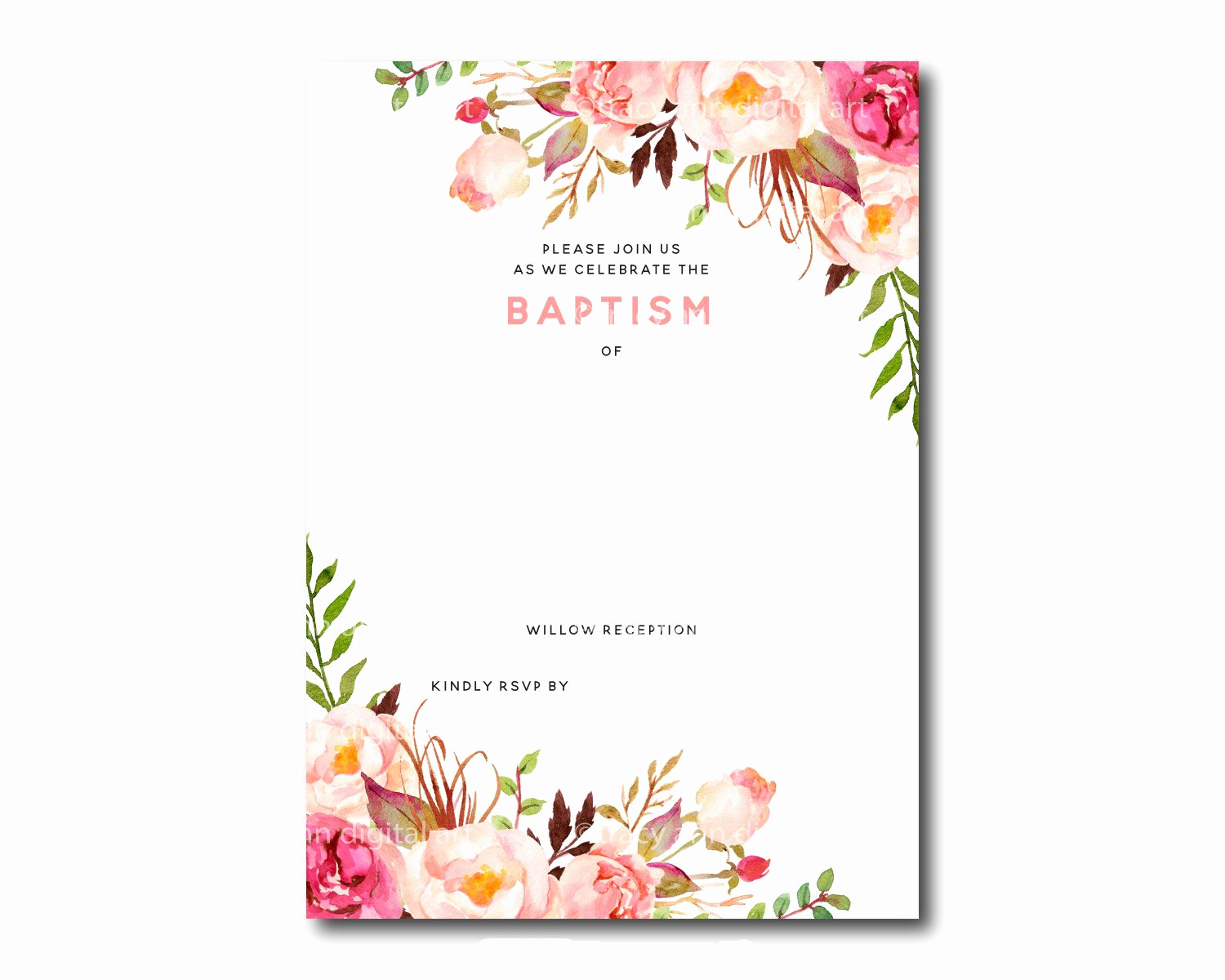 Free Printable Invitations Templates New Awesome Free Template Free Printable Baptism Floral