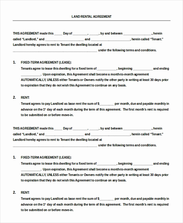 Free Printable Rental Agreement Awesome 13 Blank Rental Agreement Templates – Free Sample