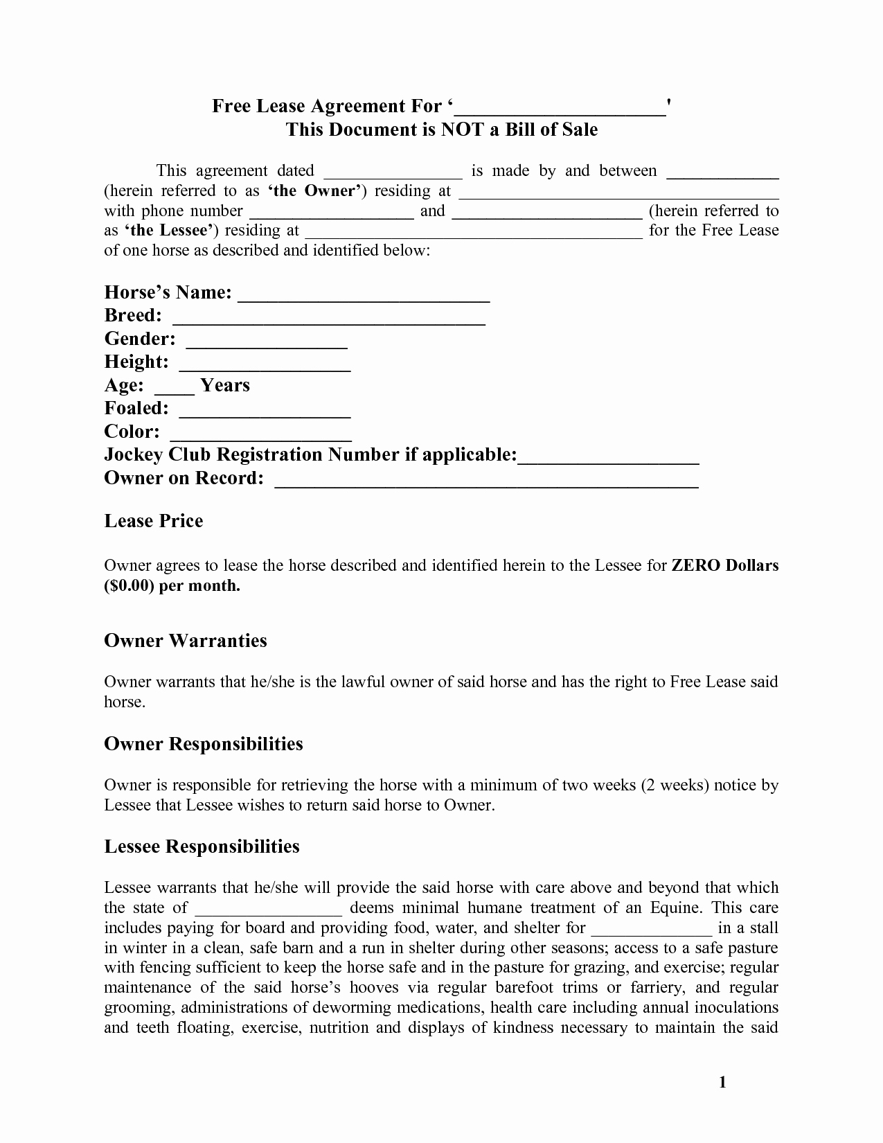 Free Printable Rental Agreement Beautiful Horse Template Printable