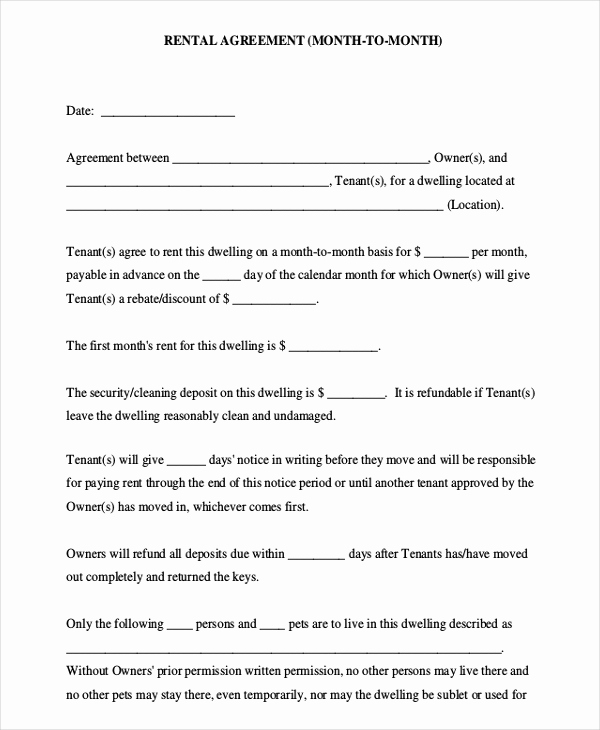 Free Printable Rental Agreement Inspirational 10 Month to Month Rental Agreement Free Sample Example