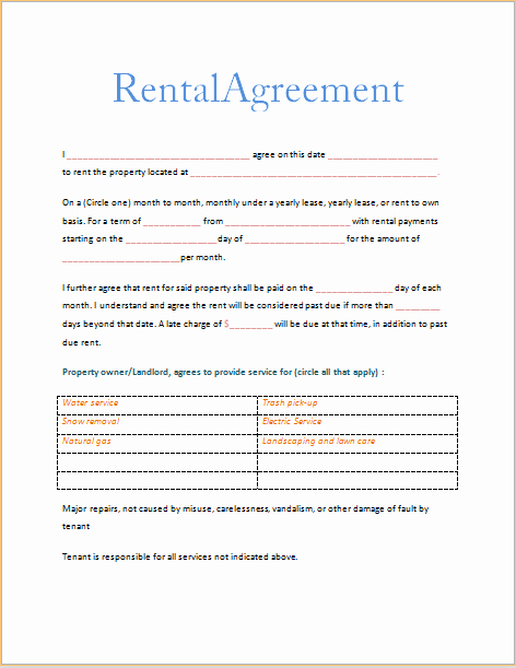 Free Printable Rental Agreement Inspirational Printable Sample Free Printable Rental Agreements form