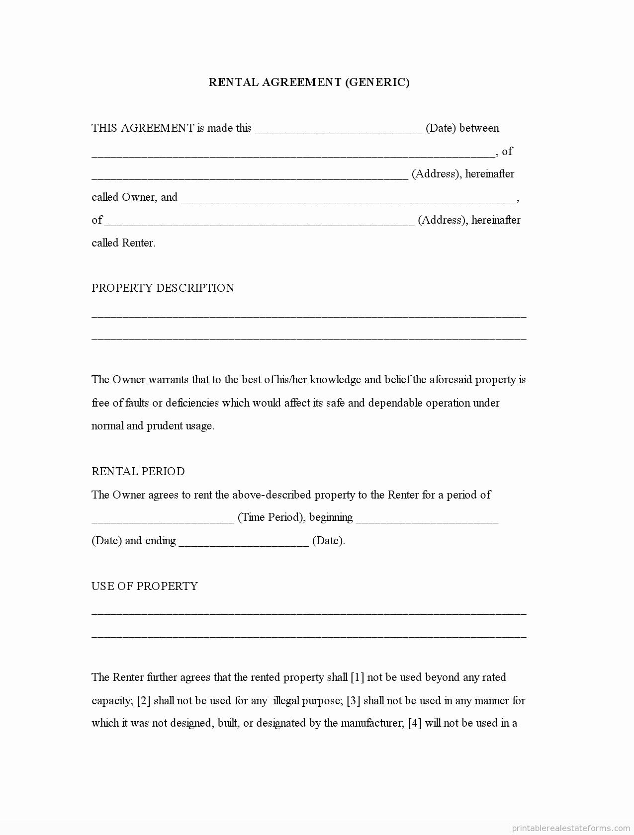 Free Printable Rental Agreement Luxury Generic Template Rental Agreement forms Free Printable