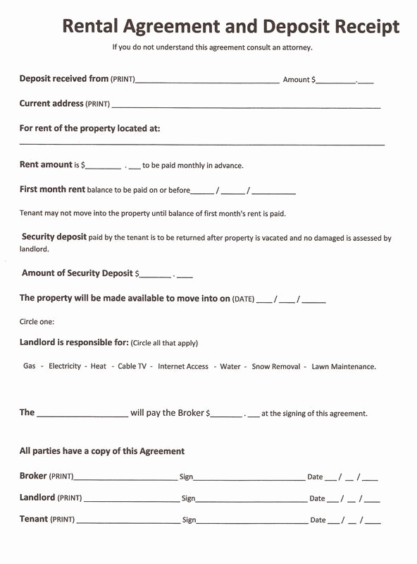 Free Printable Rental Agreement New Printable Sample Free Printable Rental Agreements form