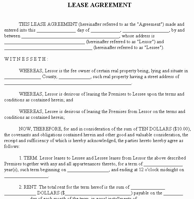Free Printable Rental Agreement Unique Free Lease Agreement forms