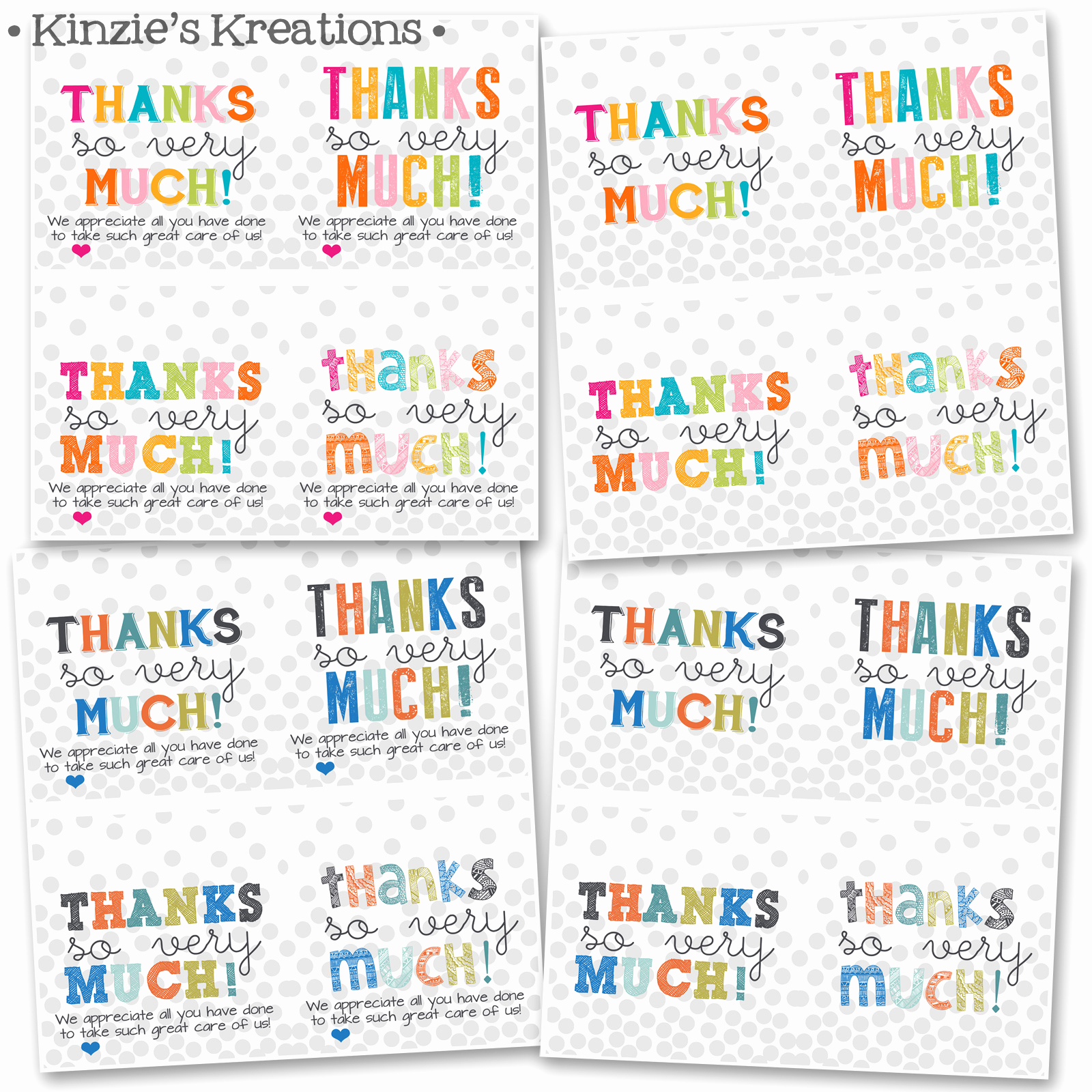 Free Printable Thank You Tags Awesome Kinzie S Kreations Hospital Thank You Cards