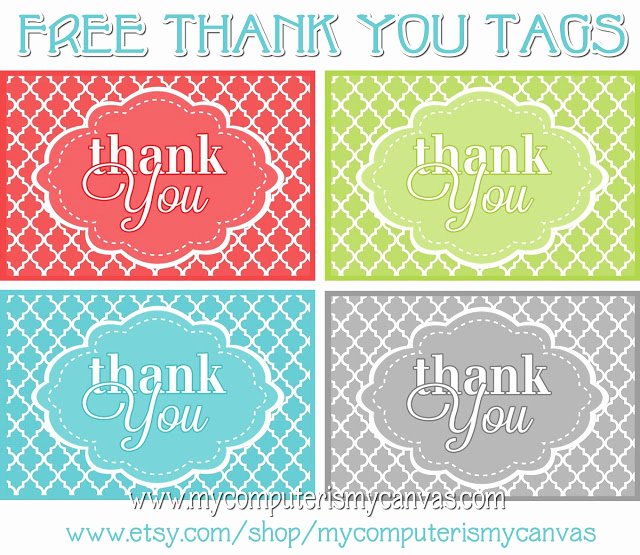 Free Printable Thank You Tags Beautiful My Puter is My Canvas Freebie Printable Thank You Tags
