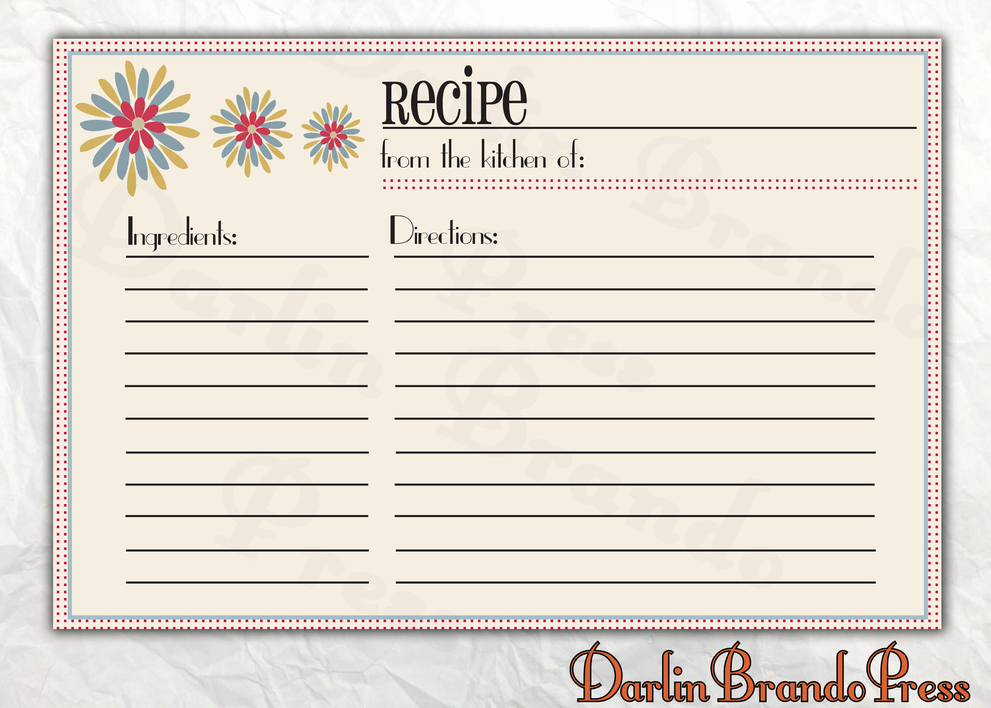 Free Recipe Card Templates Best Of Darlin Brando Press