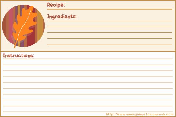 Free Recipe Card Templates Elegant Autumn Breeze Free Recipe Card Templates Lined Messy